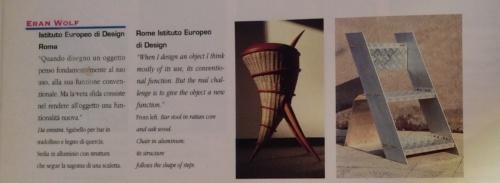 Sgabello e sedia Istituto Europeo di Design . Eran Wolf